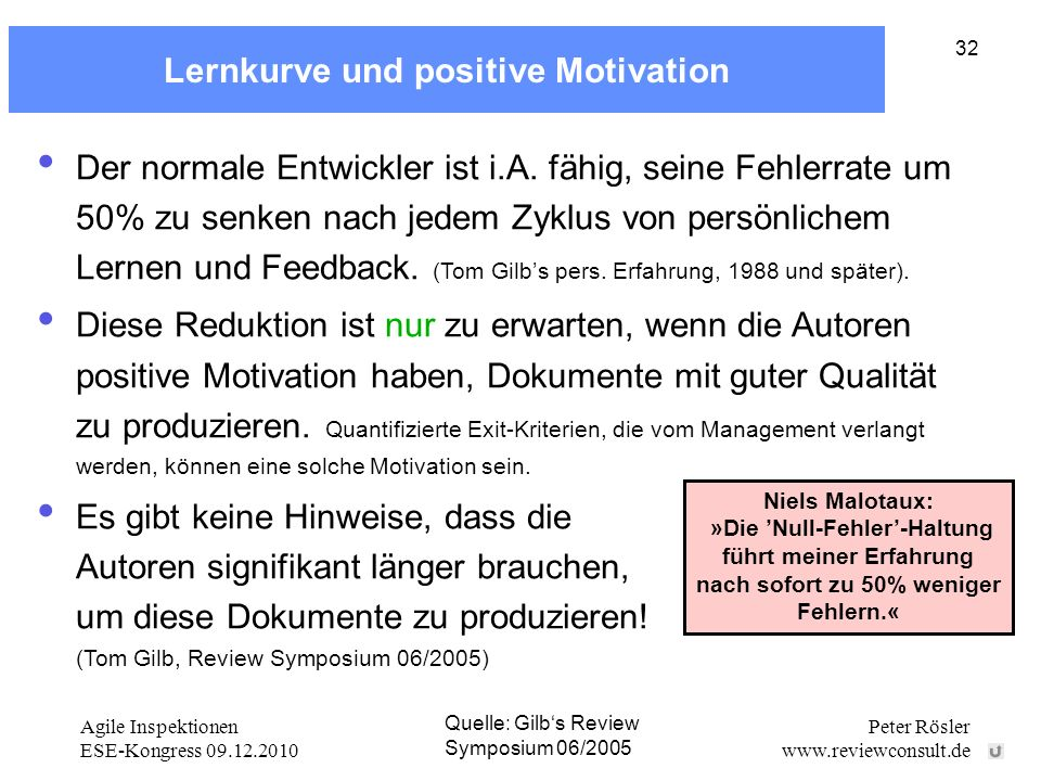 Agile Inspektionen ESE-Kongress 09.12.2010 Peter Rösler www.reviewconsult.de 32 Lernkurve und positive Motivation Der normale Entwickler ist i.A.