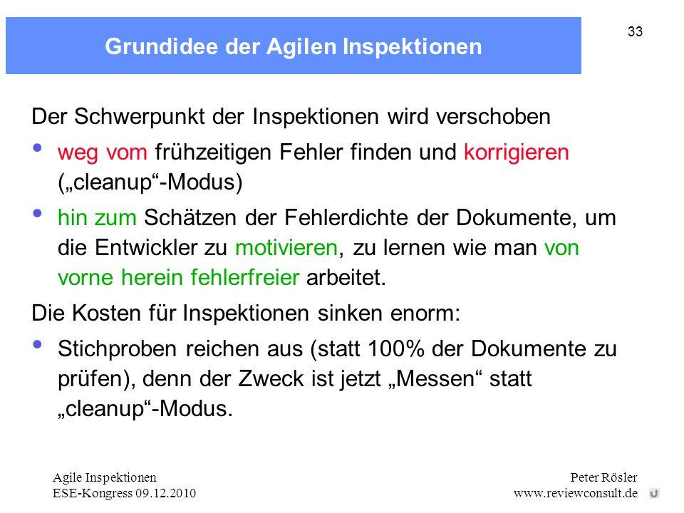 Agile Inspektionen ESE-Kongress 09.12.2010 Peter Rösler www.reviewconsult.de 33 Grundidee der Agilen Inspektionen Der Schwerpunkt der Inspektionen wir
