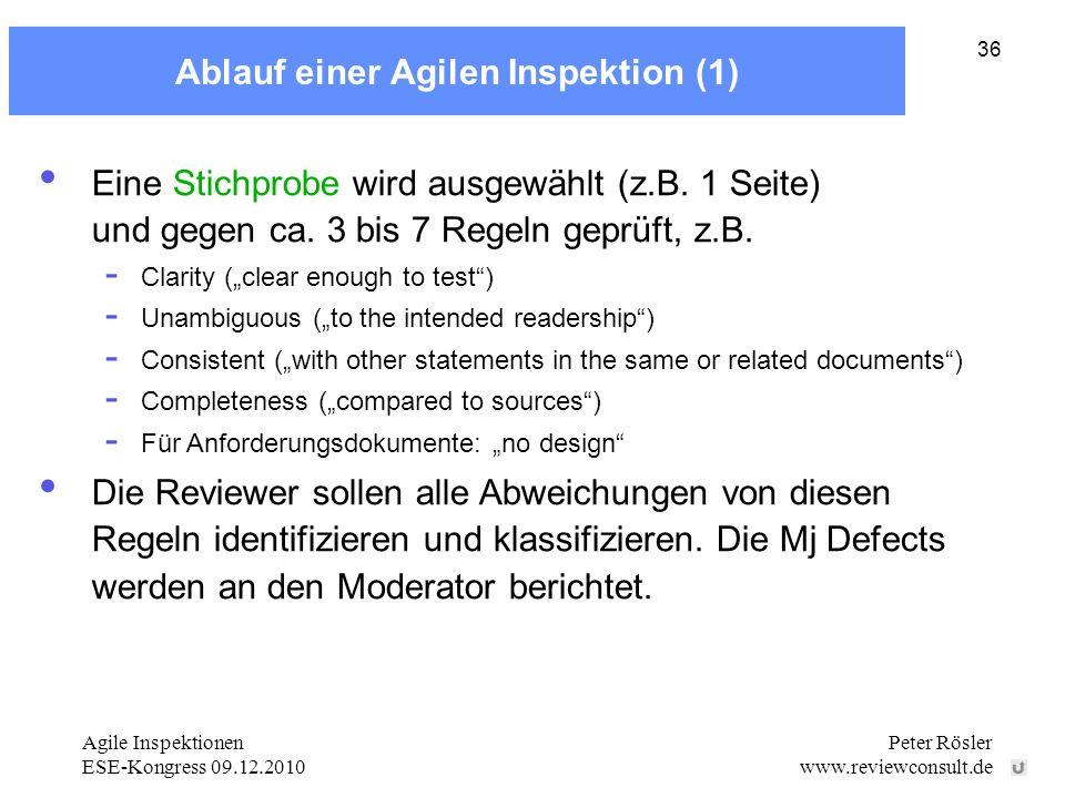 Agile Inspektionen ESE-Kongress 09.12.2010 Peter Rösler www.reviewconsult.de 36 Ablauf einer Agilen Inspektion (1) Eine Stichprobe wird ausgewählt (z.B.