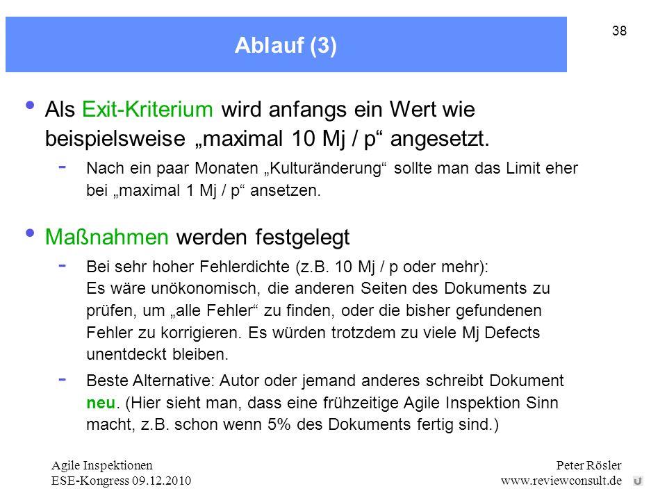 Agile Inspektionen ESE-Kongress 09.12.2010 Peter Rösler www.reviewconsult.de 38 Ablauf (3) Maßnahmen werden festgelegt - Bei sehr hoher Fehlerdichte (z.B.