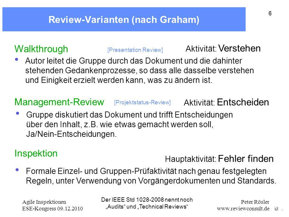 Agile Inspektionen ESE-Kongress 09.12.2010 Peter Rösler www.reviewconsult.de 6 Inspection: Hauptaktivität: Fehler finden Formale Einzel- und Gruppen-P