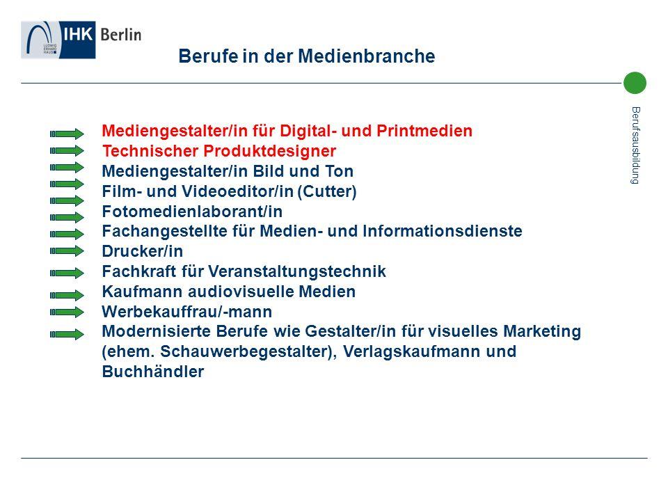 Berufsausbildung Berufe in der Medienbranche Mediengestalter/in für Digital- und Printmedien Technischer Produktdesigner Mediengestalter/in Bild und T