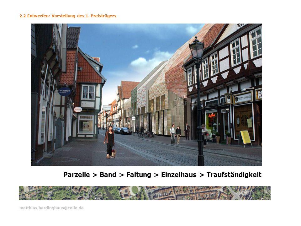 matthias.hardinghaus@celle.de 2.2 Entwerfen: Vorstellung des 1. Preisträgers Parzelle > Band > Faltung > Einzelhaus > Traufständigkeit