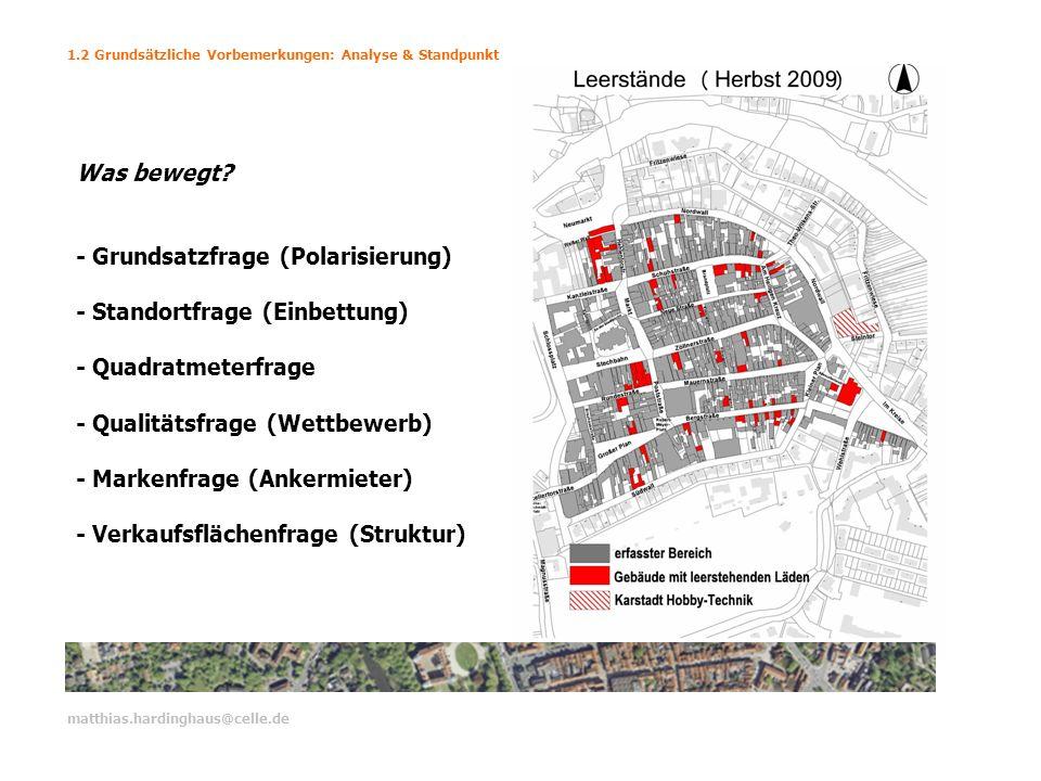 1.2 Grundsätzliche Vorbemerkungen: Analyse & Standpunkt matthias.hardinghaus@celle.de Was bewegt? - Grundsatzfrage (Polarisierung) - Standortfrage (Ei