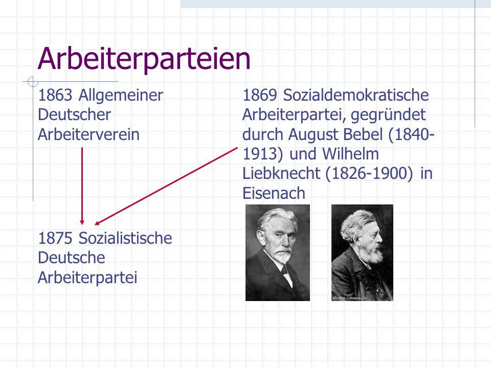 Arbeiterparteien 1863 Allgemeiner Deutscher Arbeiterverein 1869 Sozialdemokratische Arbeiterpartei, gegründet durch August Bebel (1840- 1913) und Wilhelm Liebknecht (1826-1900) in Eisenach 1875 Sozialistische Deutsche Arbeiterpartei