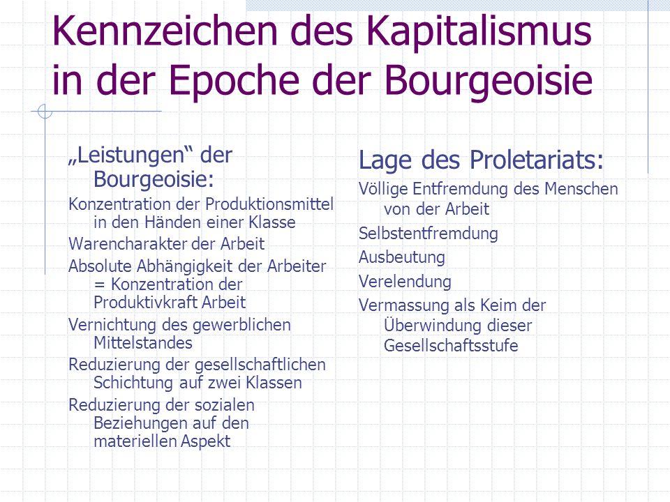 Kennzeichen des Kapitalismus in der Epoche der Bourgeoisie Leistungen der Bourgeoisie: Konzentration der Produktionsmittel in den Händen einer Klasse