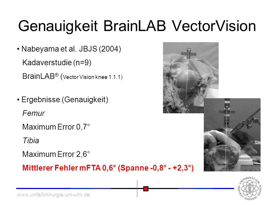 www.unfallchirurgie.uni-ulm.de Genauigkeit BrainLAB VectorVision Nabeyama et al. JBJS (2004) Kadaverstudie (n=9) BrainLAB ® ( Vector Vision knee 1.1.1