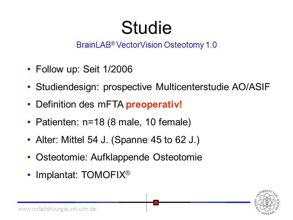 www.unfallchirurgie.uni-ulm.de Studie Follow up: Seit 1/2006 Studiendesign: prospective Multicenterstudie AO/ASIF Definition des mFTA preoperativ! Pat
