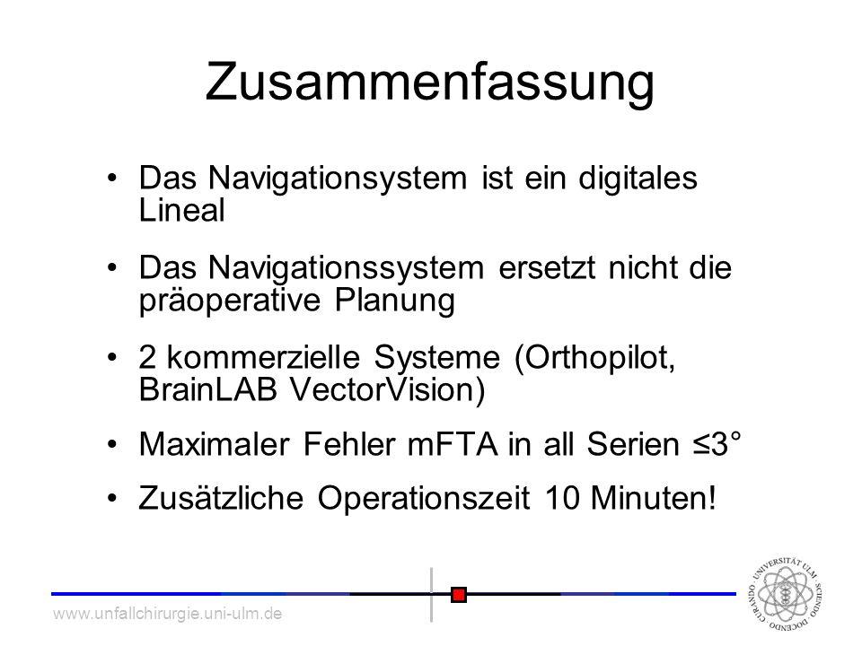 www.unfallchirurgie.uni-ulm.de Zusammenfassung Das Navigationsystem ist ein digitales Lineal Das Navigationssystem ersetzt nicht die präoperative Plan