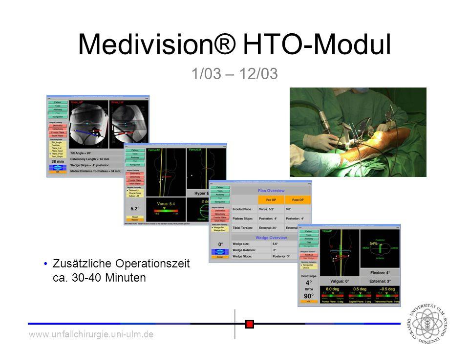 www.unfallchirurgie.uni-ulm.de Medivision® HTO-Modul Zusätzliche Operationszeit ca. 30-40 Minuten 1/03 – 12/03