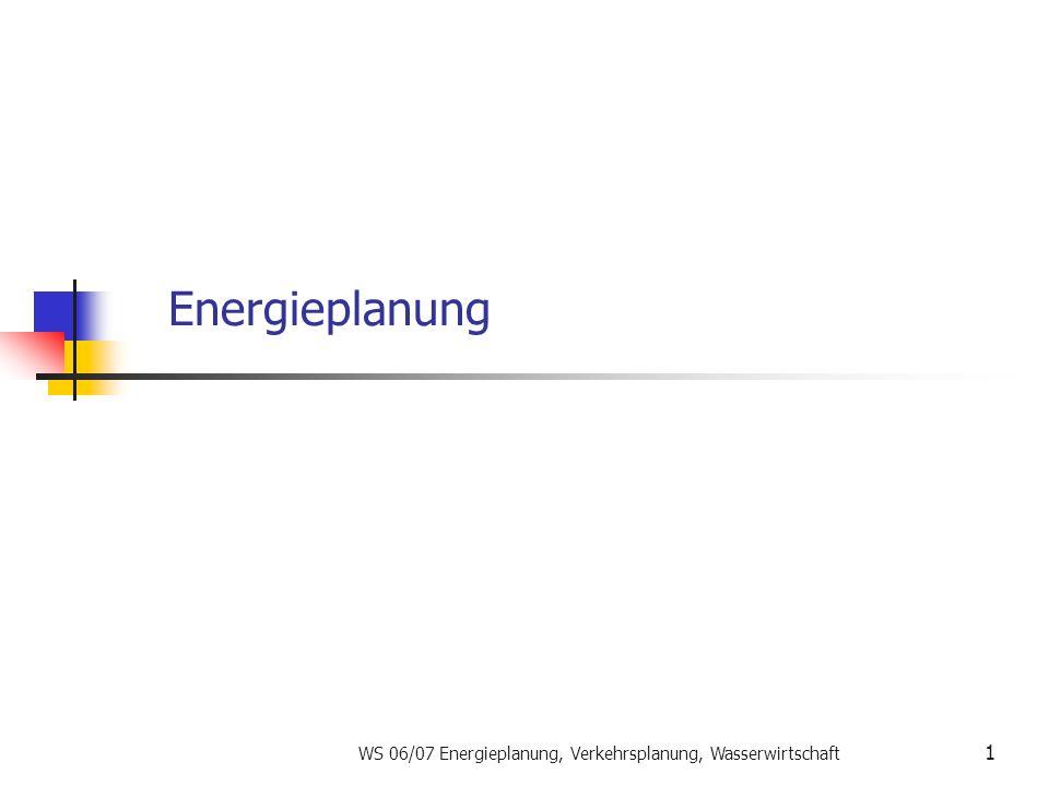 WS 06/07 Energieplanung, Verkehrsplanung, Wasserwirtschaft 1 Energieplanung