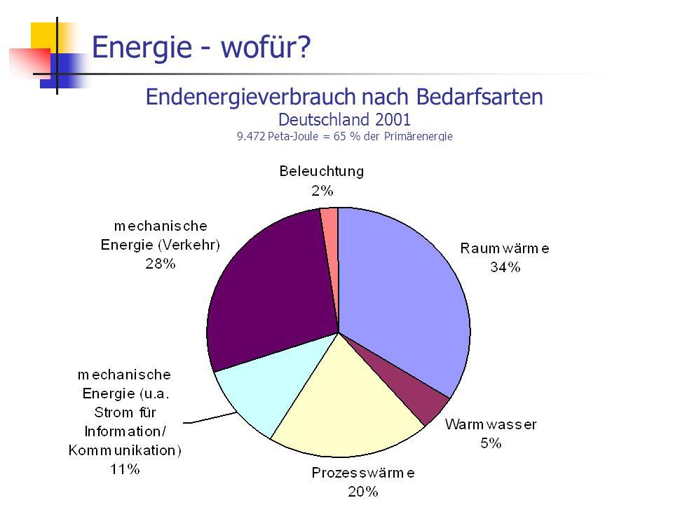 WS 06/07 Energieplanung, Verkehrsplanung, Wasserwirtschaft14 Energie - wofür? Endenergieverbrauch nach Bedarfsarten Deutschland 2001 9.472 Peta-Joule