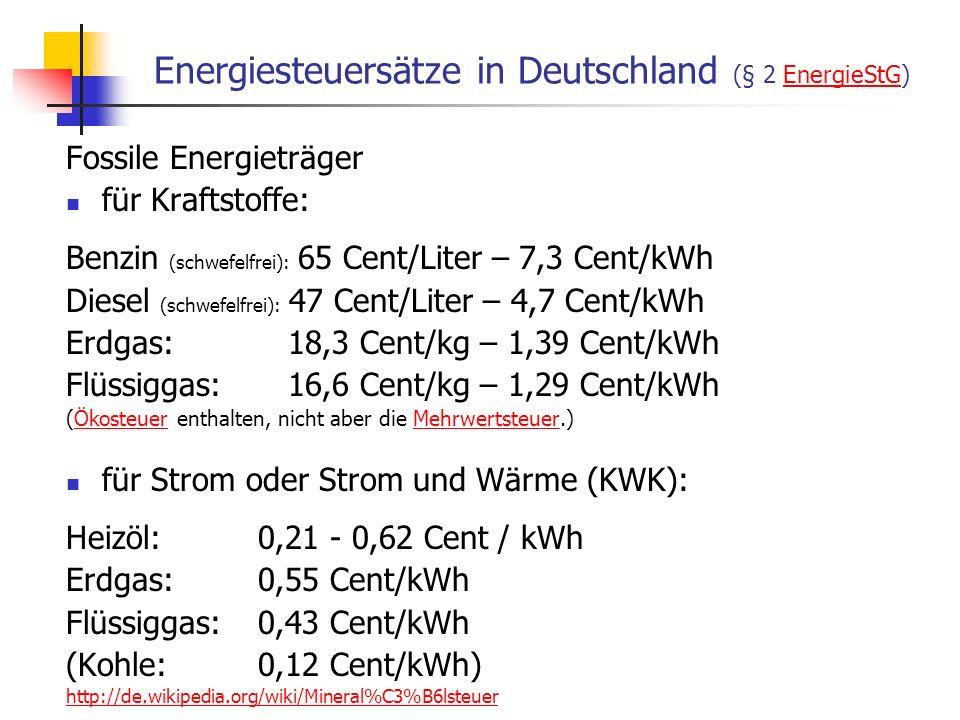 WS 06/07 Energieplanung, Verkehrsplanung, Wasserwirtschaft30 Energiesteuersätze in Deutschland (§ 2 EnergieStG)EnergieStG Fossile Energieträger für Kr
