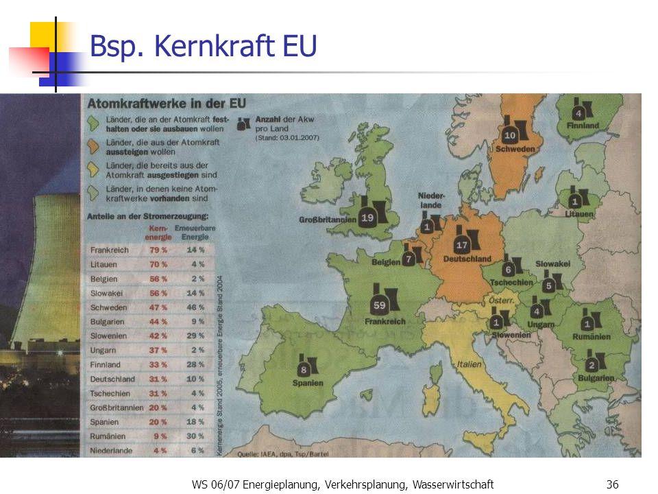 WS 06/07 Energieplanung, Verkehrsplanung, Wasserwirtschaft36 Bsp. Kernkraft EU