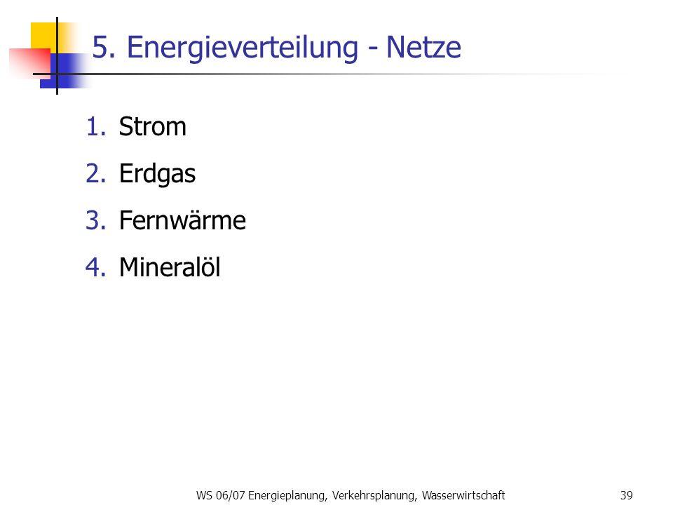 WS 06/07 Energieplanung, Verkehrsplanung, Wasserwirtschaft39 5. Energieverteilung - Netze 1.Strom 2.Erdgas 3.Fernwärme 4.Mineralöl