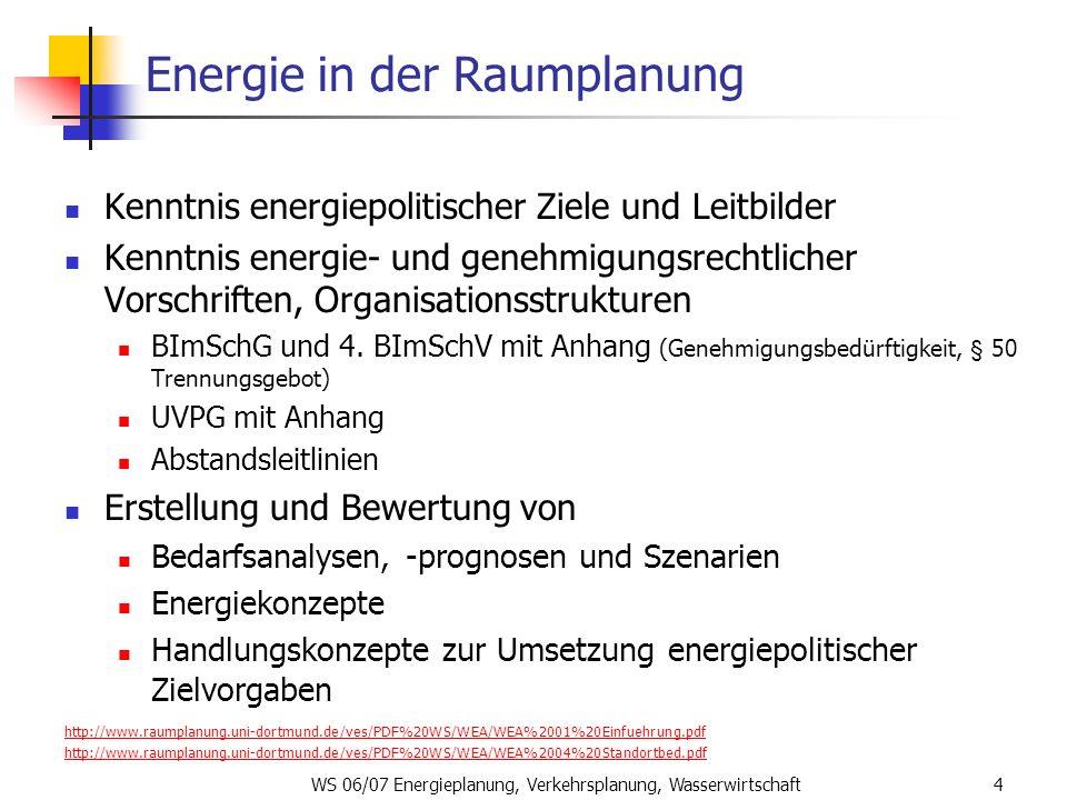 WS 06/07 Energieplanung, Verkehrsplanung, Wasserwirtschaft4 Energie in der Raumplanung Kenntnis energiepolitischer Ziele und Leitbilder Kenntnis energ