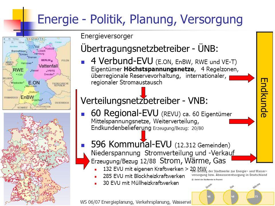 WS 06/07 Energieplanung, Verkehrsplanung, Wasserwirtschaft45 Energie - Politik, Planung, Versorgung Energieversorger Übertragungsnetzbetreiber - ÜNB: