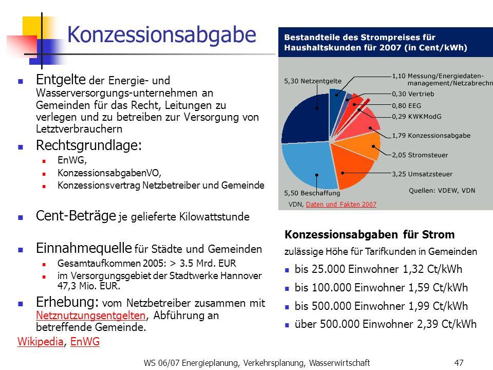 WS 06/07 Energieplanung, Verkehrsplanung, Wasserwirtschaft47 Konzessionsabgabe Entgelte der Energie- und Wasserversorgungs-unternehmen an Gemeinden fü