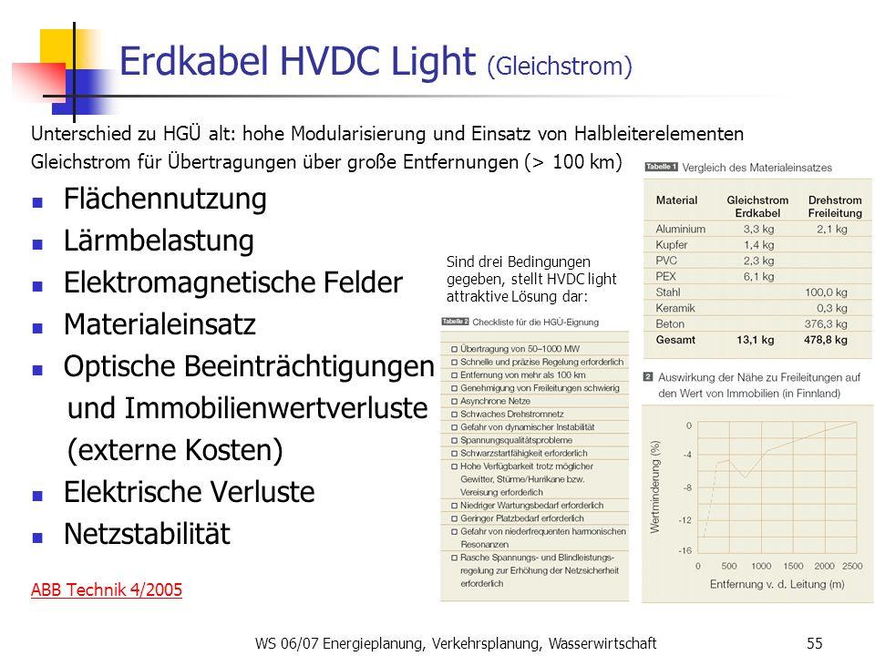 WS 06/07 Energieplanung, Verkehrsplanung, Wasserwirtschaft55 Erdkabel HVDC Light (Gleichstrom) Unterschied zu HGÜ alt: hohe Modularisierung und Einsat