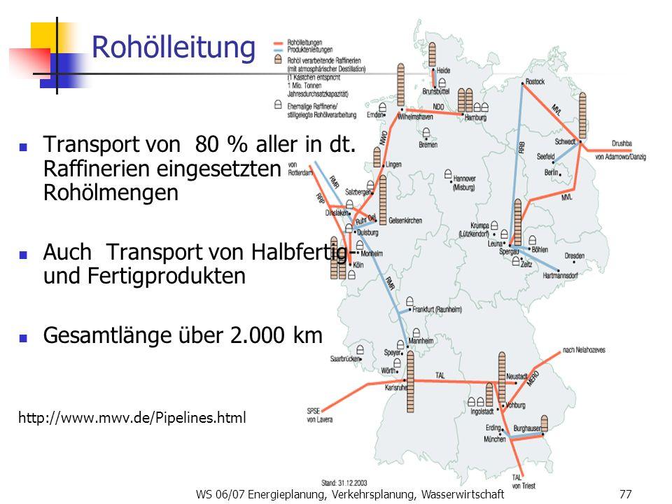WS 06/07 Energieplanung, Verkehrsplanung, Wasserwirtschaft77 Rohölleitung Transport von 80 % aller in dt. Raffinerien eingesetzten Rohölmengen Auch Tr