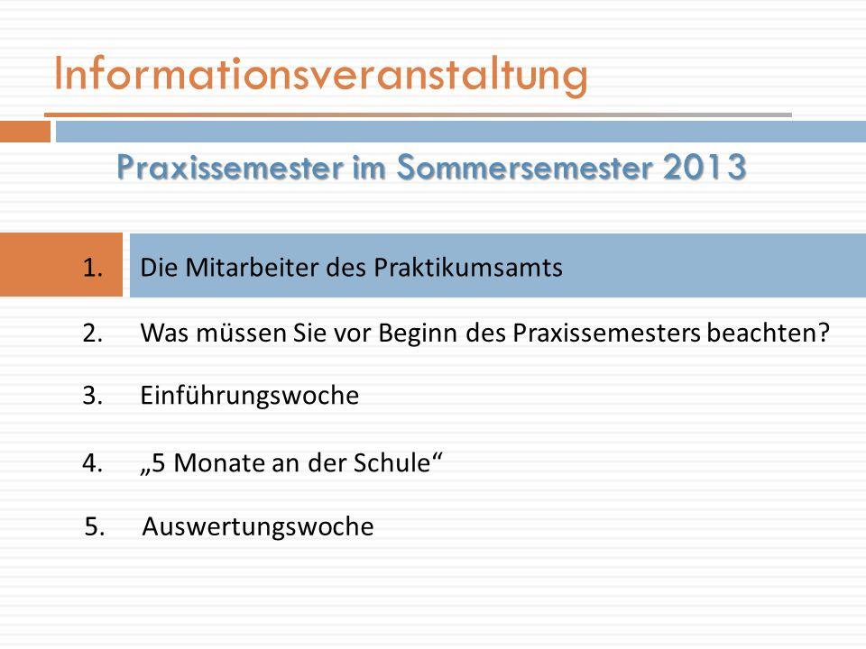 Informationsveranstaltung 1.Die Mitarbeiter des Praktikumsamts Praxissemester im Sommersemester 2013 2.Was müssen Sie vor Beginn des Praxissemesters beachten.