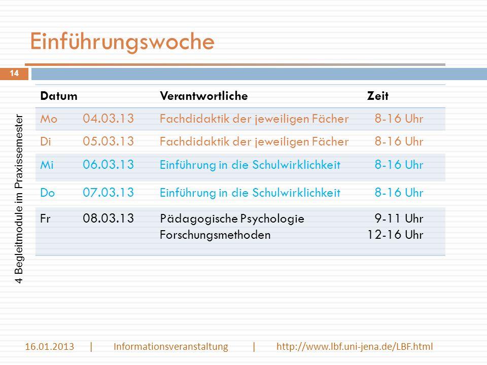 Einführungswoche DatumVerantwortlicheZeit Mo04.03.13Fachdidaktik der jeweiligen Fächer 8-16 Uhr Di05.03.13Fachdidaktik der jeweiligen Fächer 8-16 Uhr