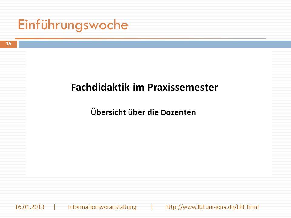 Einführungswoche Fachdidaktik im Praxissemester 15 Übersicht über die Dozenten 16.01.2013 | Informationsveranstaltung | http://www.lbf.uni-jena.de/LBF