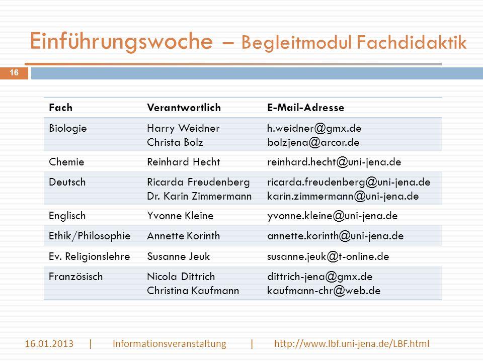 Einführungswoche – Begleitmodul Fachdidaktik 16 FachVerantwortlichE-Mail-Adresse BiologieHarry Weidner Christa Bolz h.weidner@gmx.de bolzjena@arcor.de