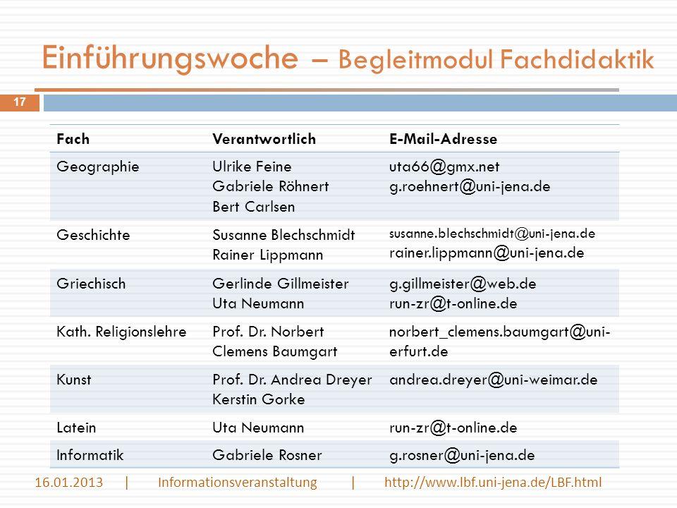 Einführungswoche – Begleitmodul Fachdidaktik 17 FachVerantwortlichE-Mail-Adresse GeographieUlrike Feine Gabriele Röhnert Bert Carlsen uta66@gmx.net g.