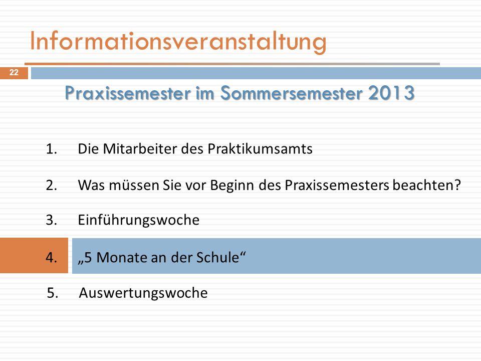 Informationsveranstaltung 1.Die Mitarbeiter des Praktikumsamts Praxissemester im Sommersemester 2013 2.Was müssen Sie vor Beginn des Praxissemesters b