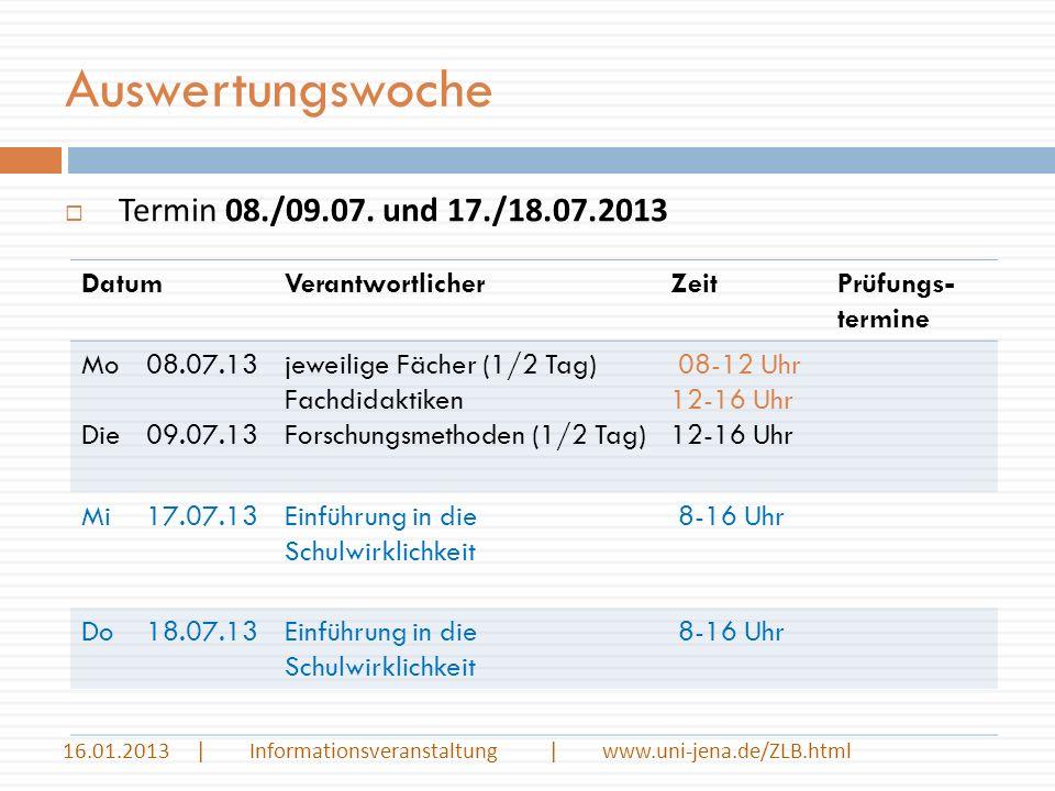 Auswertungswoche 16.01.2013 | Informationsveranstaltung | www.uni-jena.de/ZLB.html Termin 08./09.07. und 17./18.07.2013 DatumVerantwortlicherZeitPrüfu