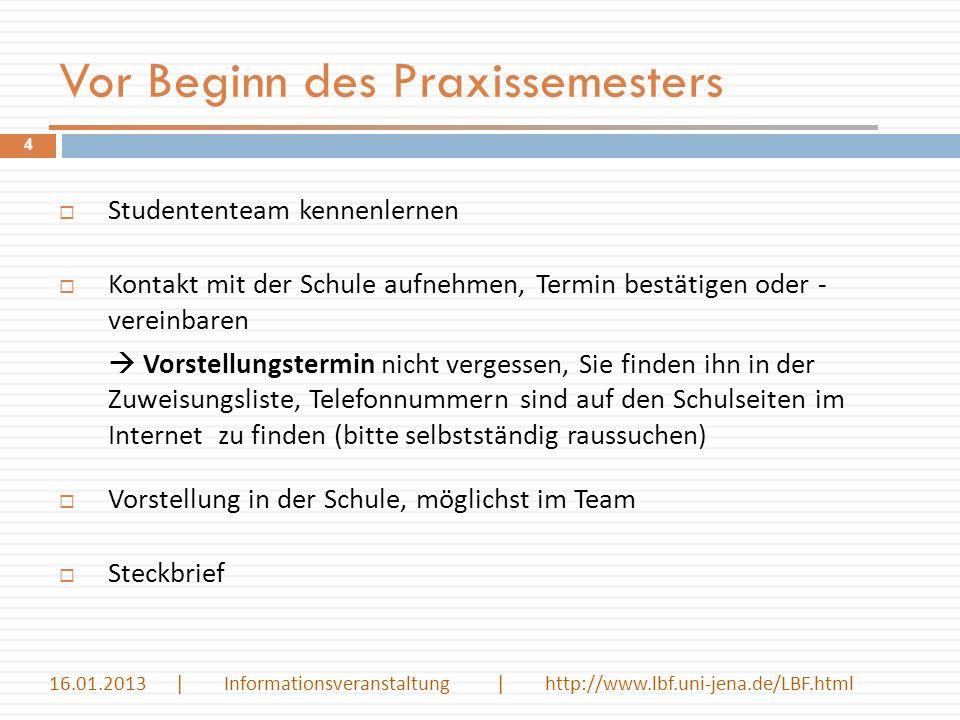 Einführungswoche Fachdidaktik im Praxissemester 15 Übersicht über die Dozenten 16.01.2013 | Informationsveranstaltung | http://www.lbf.uni-jena.de/LBF.html