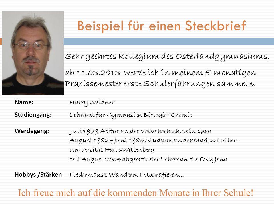 Beispiel für einen Steckbrief Sehr geehrtes Kollegium des Osterlandgymnasiums, ab 11.03.2013 werde ich in meinem 5-monatigen Praxissemester erste Schu
