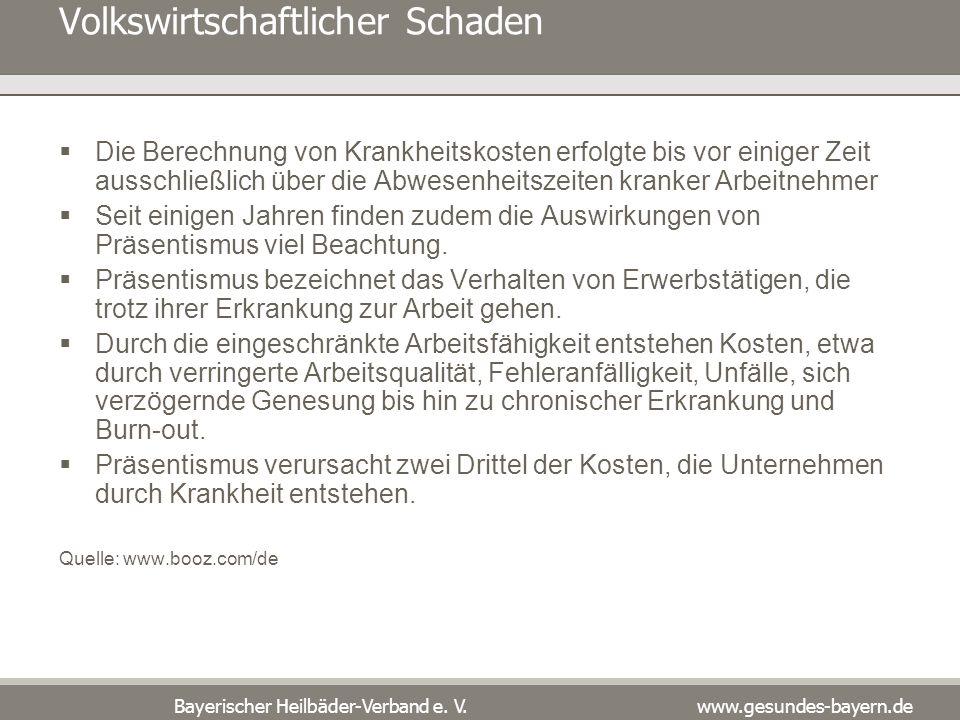 Bayerischer Heilbäder-Verband e. V. www.gesundes-bayern.de Volkswirtschaftlicher Schaden Die Berechnung von Krankheitskosten erfolgte bis vor einiger
