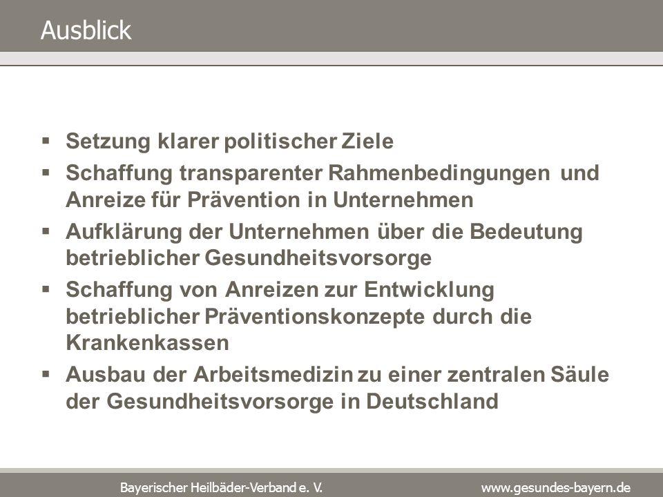 Bayerischer Heilbäder-Verband e. V. www.gesundes-bayern.de Ausblick Setzung klarer politischer Ziele Schaffung transparenter Rahmenbedingungen und Anr