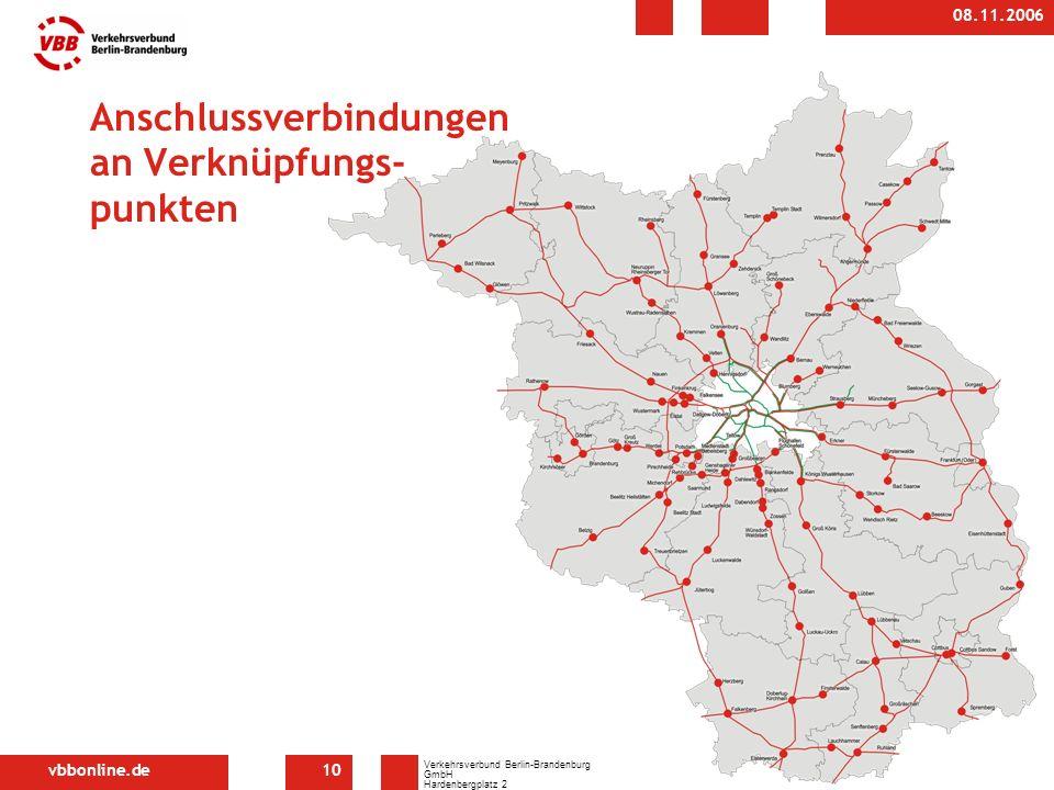 vbbonline.de Verkehrsverbund Berlin-Brandenburg GmbH Hardenbergplatz 2 10623 Berlin 08.11.2006 10 Anschlussverbindungen an Verknüpfungs- punkten