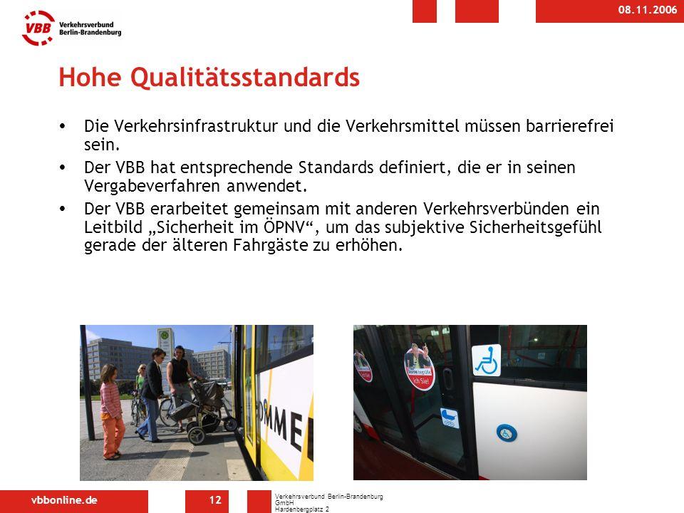 vbbonline.de Verkehrsverbund Berlin-Brandenburg GmbH Hardenbergplatz 2 10623 Berlin 08.11.2006 12 Hohe Qualitätsstandards Die Verkehrsinfrastruktur und die Verkehrsmittel müssen barrierefrei sein.