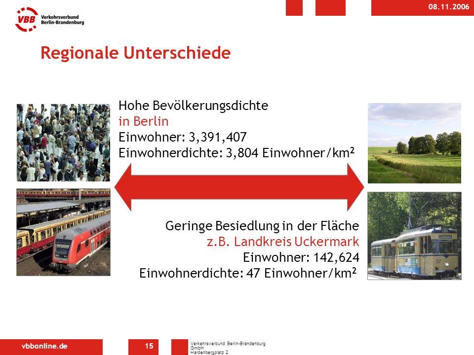 vbbonline.de Verkehrsverbund Berlin-Brandenburg GmbH Hardenbergplatz 2 10623 Berlin 08.11.2006 15 Regionale Unterschiede Geringe Besiedlung in der Fläche z.B.
