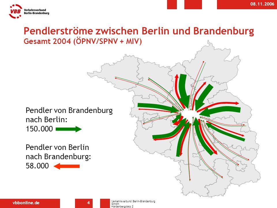 vbbonline.de Verkehrsverbund Berlin-Brandenburg GmbH Hardenbergplatz 2 10623 Berlin 08.11.2006 4 Pendlerströme zwischen Berlin und Brandenburg Gesamt 2004 (ÖPNV/SPNV + MIV) Pendler von Brandenburg nach Berlin: 150.000 Pendler von Berlin nach Brandenburg: 58.000