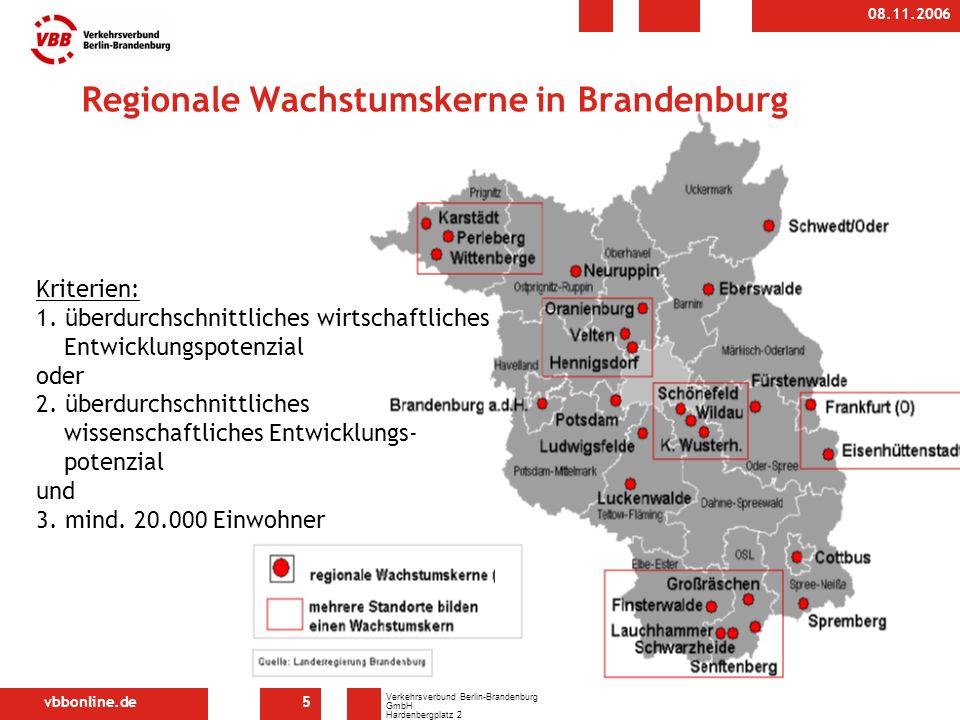 vbbonline.de Verkehrsverbund Berlin-Brandenburg GmbH Hardenbergplatz 2 10623 Berlin 08.11.2006 5 Regionale Wachstumskerne in Brandenburg Kriterien: 1.