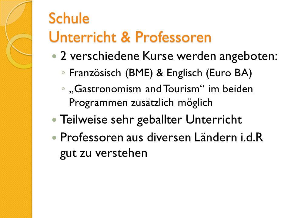 Schule Unterricht & Professoren 2 verschiedene Kurse werden angeboten: Französisch (BME) & Englisch (Euro BA) Gastronomism and Tourism im beiden Progr