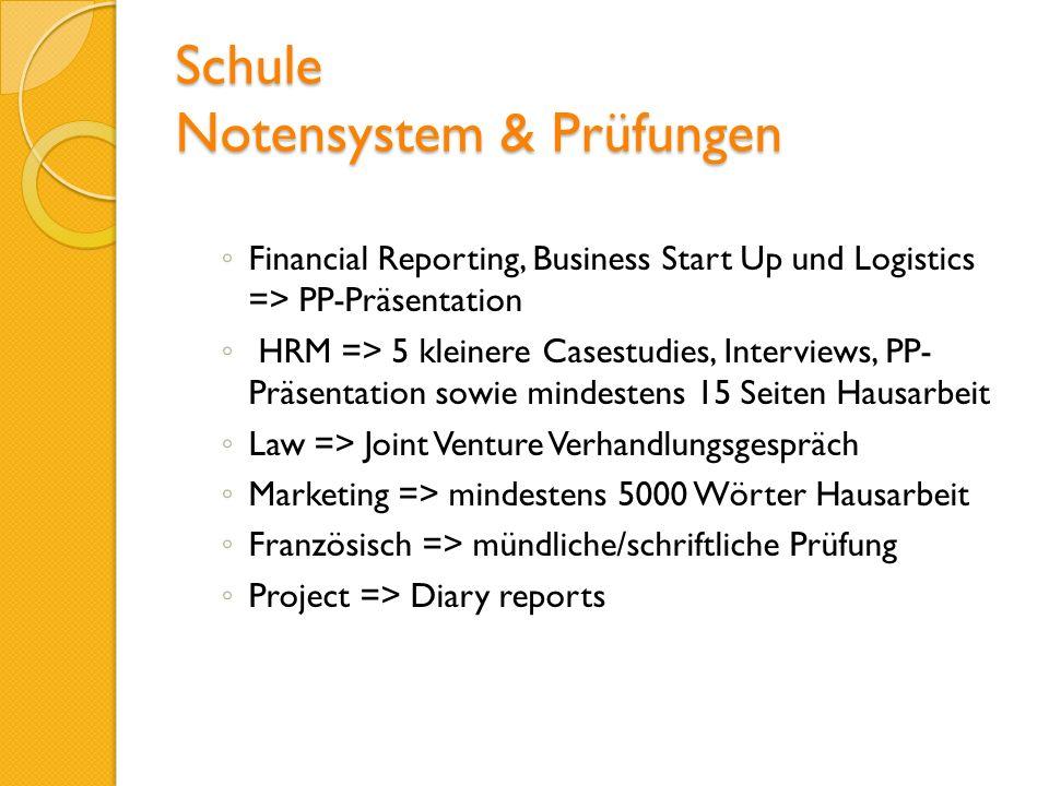 Schule Notensystem & Prüfungen Financial Reporting, Business Start Up und Logistics => PP-Präsentation HRM => 5 kleinere Casestudies, Interviews, PP-