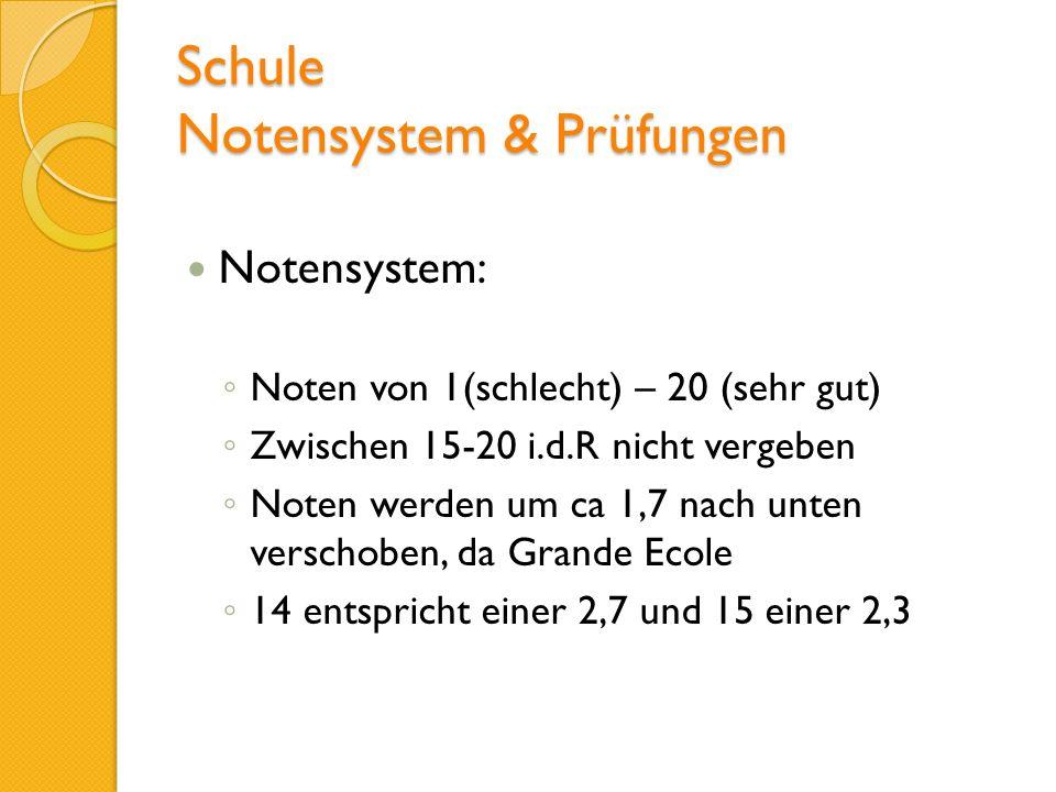Schule Notensystem & Prüfungen Notensystem: Noten von 1(schlecht) – 20 (sehr gut) Zwischen 15-20 i.d.R nicht vergeben Noten werden um ca 1,7 nach unte