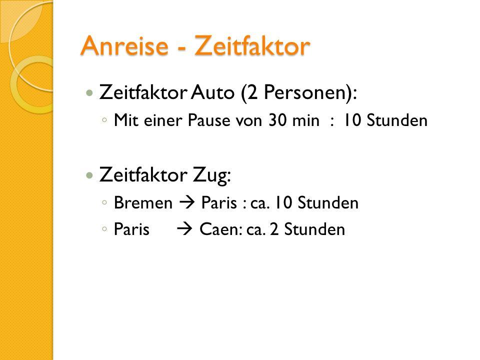 Anreise - Zeitfaktor Zeitfaktor Auto (2 Personen): Mit einer Pause von 30 min : 10 Stunden Zeitfaktor Zug: Bremen Paris : ca. 10 Stunden Paris Caen: c