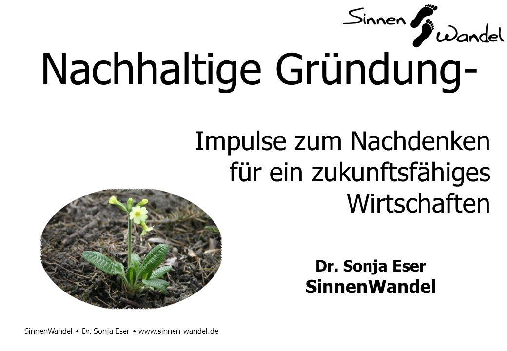 SinnenWandel Dr. Sonja Eser www.sinnen-wandel.de Nachhaltige Gründung- Impulse zum Nachdenken für ein zukunftsfähiges Wirtschaften Dr. Sonja Eser Sinn