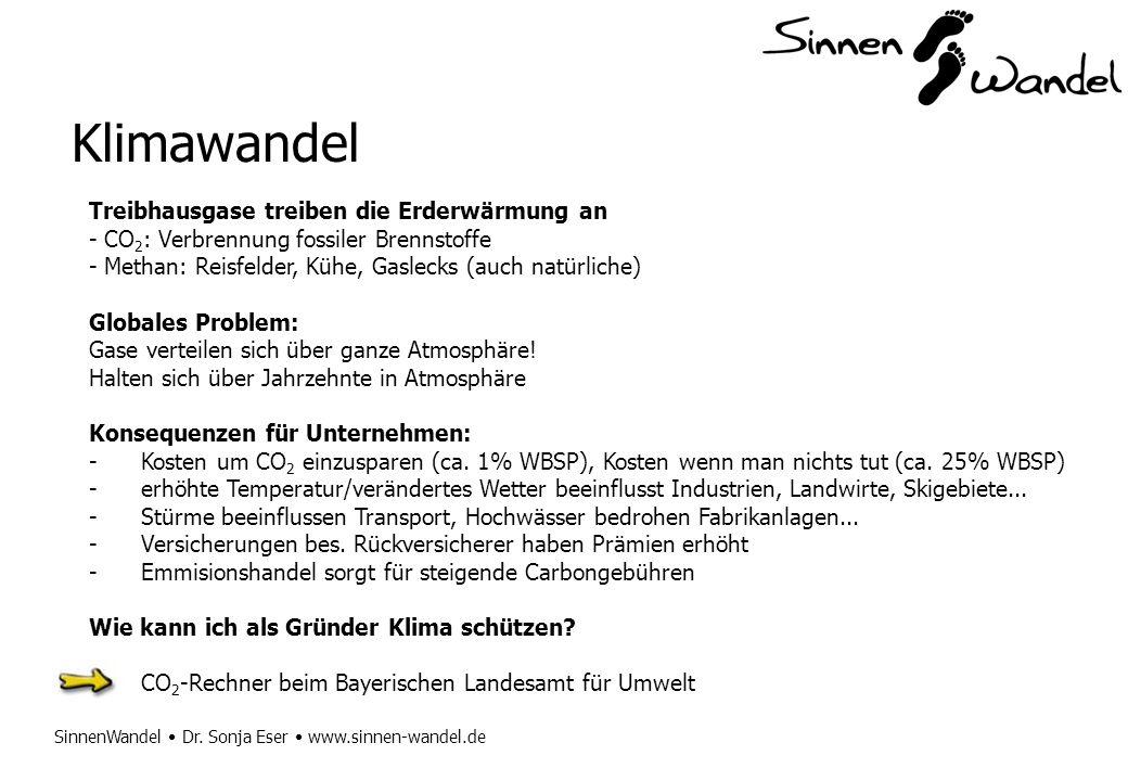 SinnenWandel Dr. Sonja Eser www.sinnen-wandel.de Klimawandel Treibhausgase treiben die Erderwärmung an - CO 2 : Verbrennung fossiler Brennstoffe - Met
