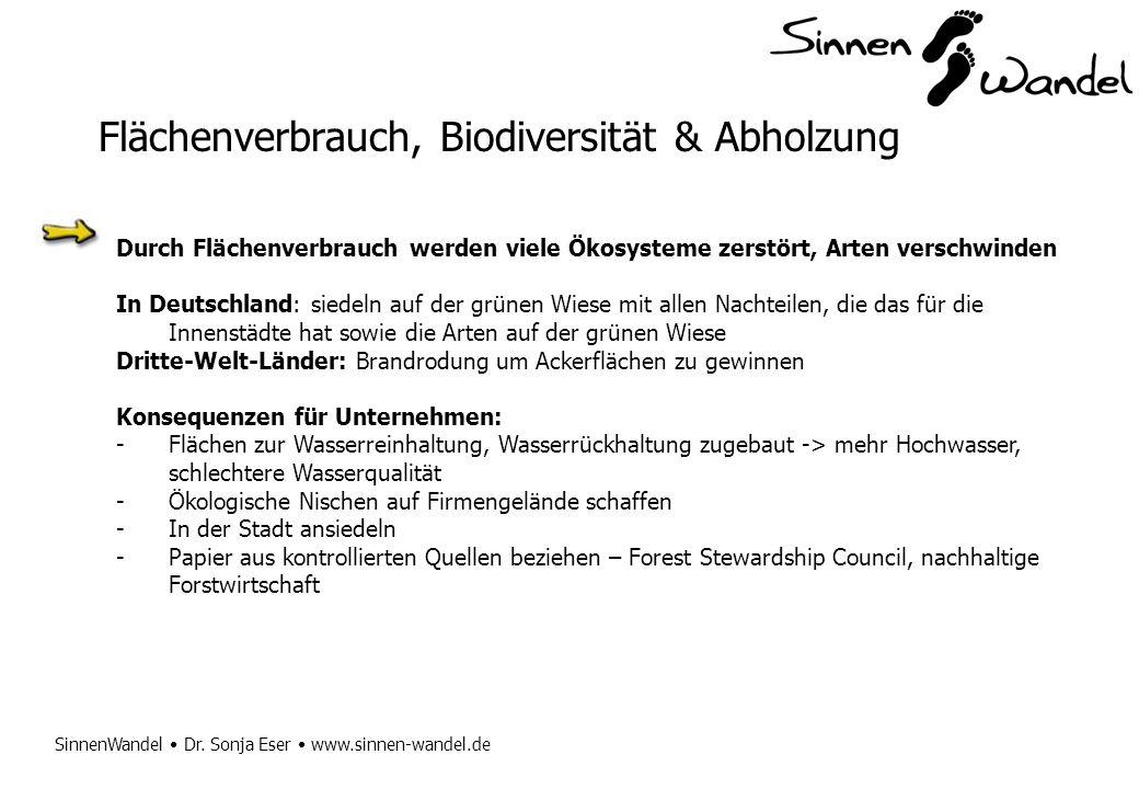 SinnenWandel Dr. Sonja Eser www.sinnen-wandel.de Flächenverbrauch, Biodiversität & Abholzung Durch Flächenverbrauch werden viele Ökosysteme zerstört,