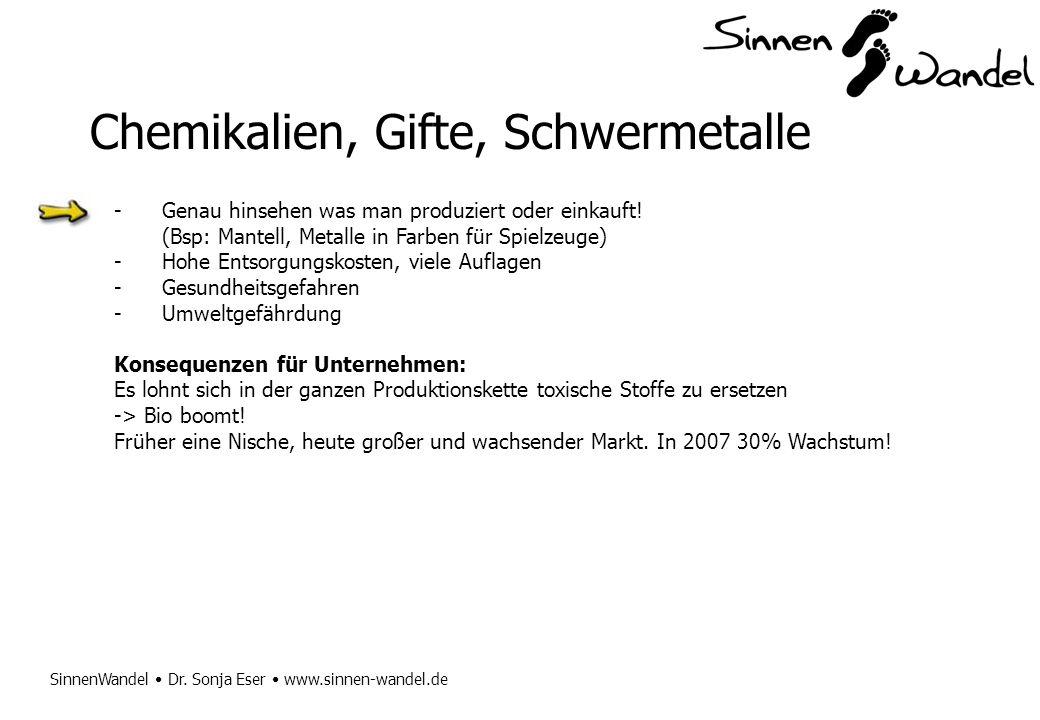 SinnenWandel Dr. Sonja Eser www.sinnen-wandel.de Chemikalien, Gifte, Schwermetalle -Genau hinsehen was man produziert oder einkauft! (Bsp: Mantell, Me