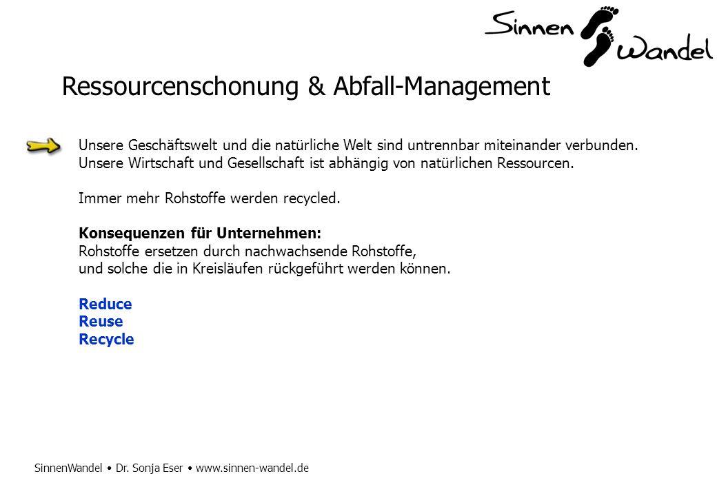 SinnenWandel Dr. Sonja Eser www.sinnen-wandel.de Ressourcenschonung & Abfall-Management Unsere Geschäftswelt und die natürliche Welt sind untrennbar m