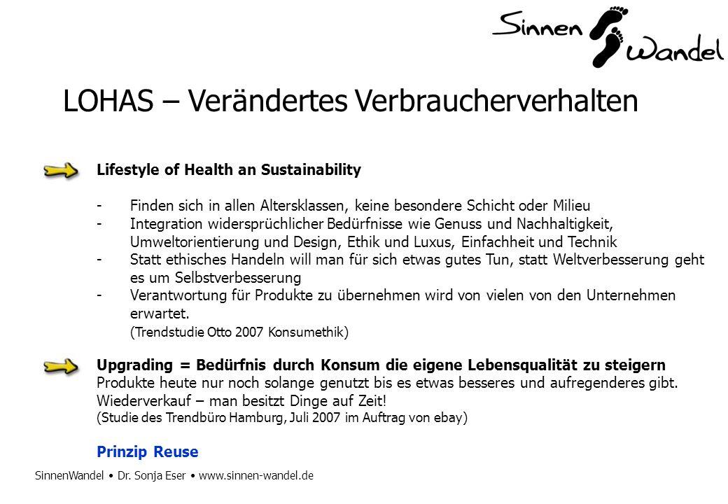 SinnenWandel Dr. Sonja Eser www.sinnen-wandel.de LOHAS – Verändertes Verbraucherverhalten Lifestyle of Health an Sustainability -Finden sich in allen